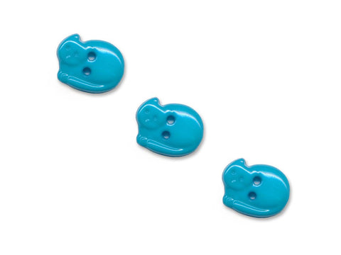 Cat Shaped Buttons - Blue - 942-Deramores