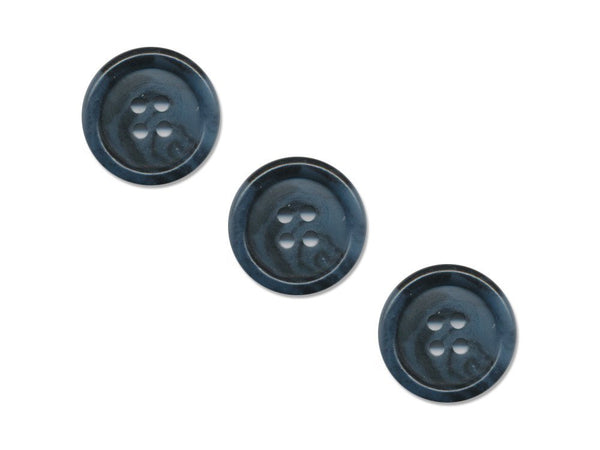 Round Rimmed Two-Tone Buttons - Blue & Black - 953