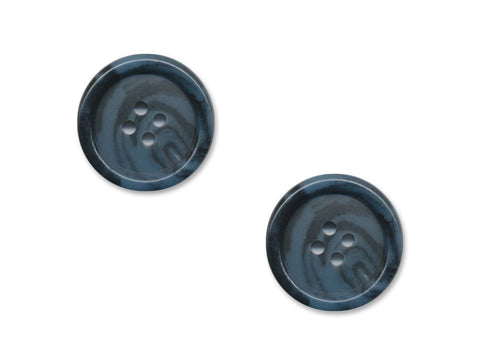 Round Rimmed Two-Tone Buttons - Blue & Black - 954
