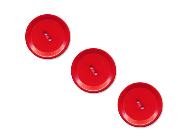 Rimmed Round Buttons - Red - 1089