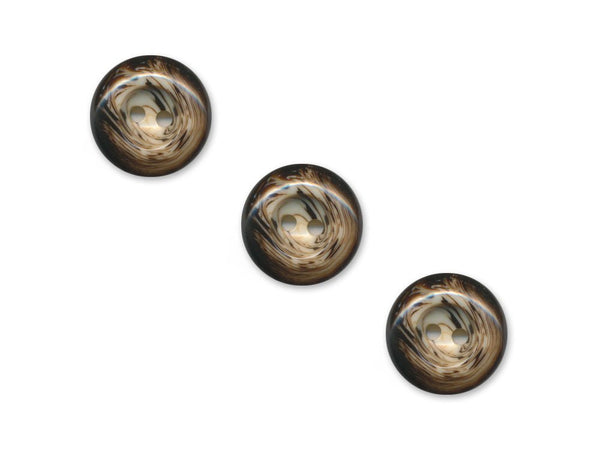 Round Patterned Buttons - Brown - 1107
