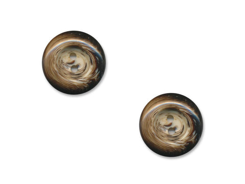 Round Patterned Buttons - Brown - 1108