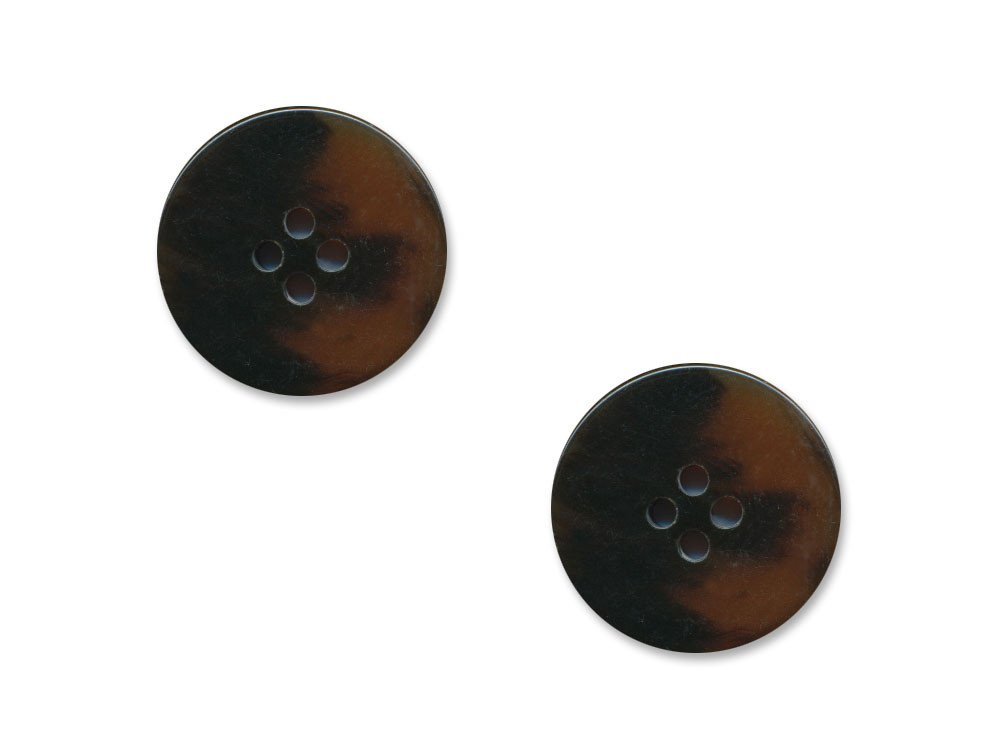 Round Thick Plastic Buttons - Brown - 1115