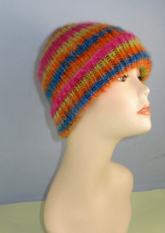 MadMonkeyKnits Angel Print Mohair All Rib Beanie Hat (772) - Digital Version
