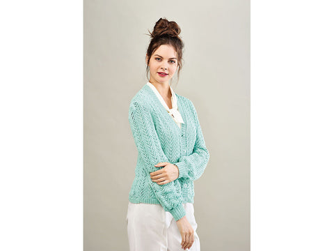 Let's Knit Arrowhead Lace Cardigan Colour Pack in Hayfield Sundance DK