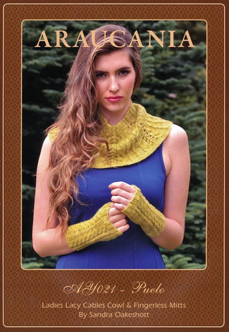 Lace Cables Cowl & Fingerless Mitts by Sandra Oakeshott in Araucania Botany Lace (AY021)-Deramores