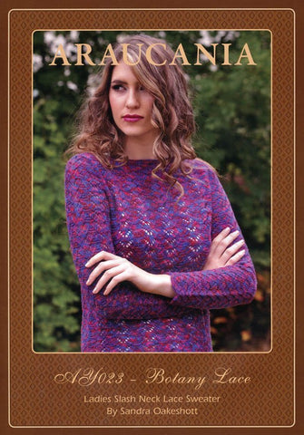 Ladies Slash Neck Sweater by Sandra Oakeshott in Araucania Botany Lace (AY023)-Deramores