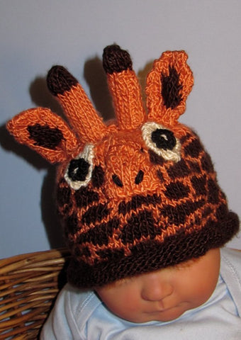 Baby Giraffe Roll Brim Hat by MadMonkeyKnits (307) - Digital Version-Deramores