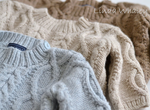 Baby Diamond Cabled Crew (8-12mths 1-2yrs) by Linda Whaley – Digital Version-Deramores