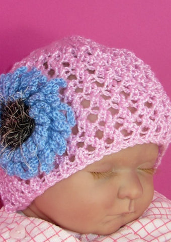 Baby Lacey Flower Skullcap Hat by MadMonkeyKnits (605) - Digital Version-Deramores