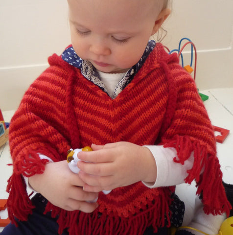 Baby Poncho Little Stripe (0-6m 6-12m 1-2yrs) by Linda Whaley – Digital Version-Deramores