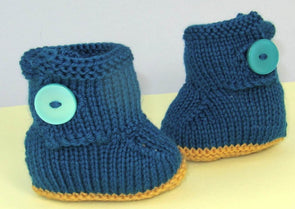 Baby One Button Booties by MadMonkeyKnits (636) - Digital Version