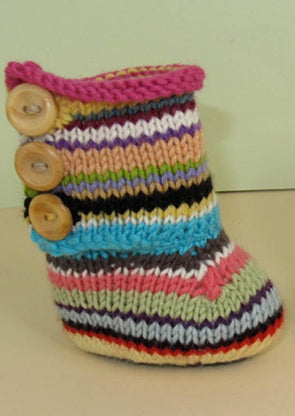 Baby Random Stripe 3 Button Booties by MadMonkeyKnits (716) - Digital Version