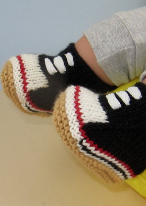 Baby Retro Baseball Boots by MadMonkeyKnits (629) - Digital Version