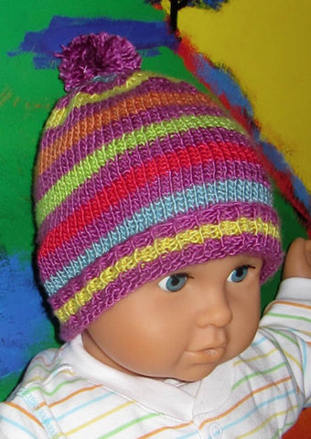 Baby Silk Stripe Bobble Beanie Hat by MadMonkeyKnits (425) - Digital Version-Deramores