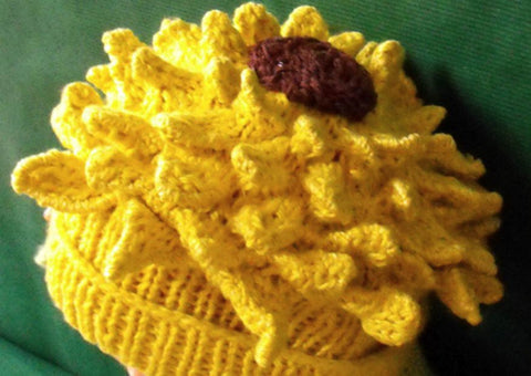 Baby Sunflower Beanie Hat by MadMonkeyKnits (50) - Digital Version-Deramores