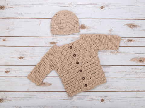 Basketweave Cardigan and Beanie Hat in Deramores Studio Baby DK