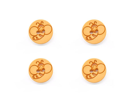 Round Bee Print Buttons - Yellow - 931