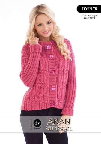 Womens Cardigan in DY Choice Aran with Wool (DYP178) Digital Version