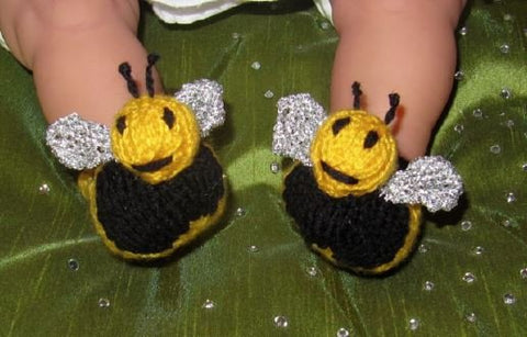 Baby Buzzy Bee Boots by MadMonkeyKnits (323) - Digital Version-Deramores