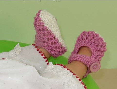 Baby Easy Lace Stitch Sandals by MadMonkeyKnits (619) - Digital Version-Deramores