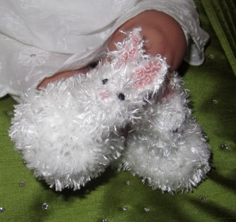 Baby Fluffy Bunny Boots by MadMonkeyKnits (321) - Digital Version-Deramores