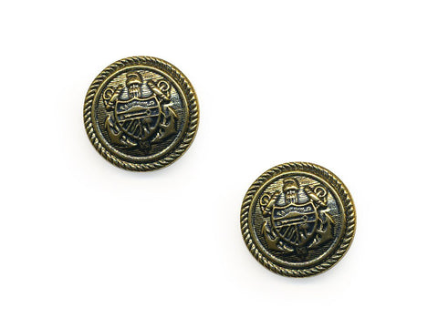 Shield Detail Metal Buttons - Gold - 140