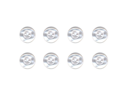 Pearlescent Rimmed Round Buttons - White - 006