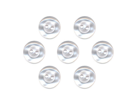Round Thick Rimmed Pearl Effect Buttons - White - 007