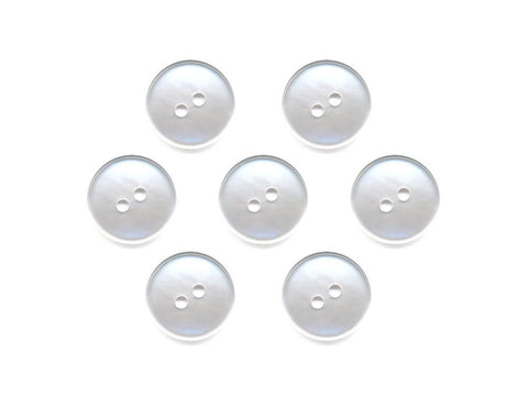 Pearlescent Rimmed Round Buttons - White - 010