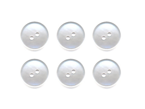 Pearlescent Rimmed Round Buttons - White - 011