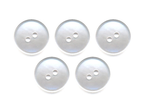 Pearlescent Rimmed Round Buttons - White - 012