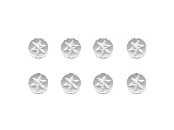 Round Flower Effect Buttons - White - 015