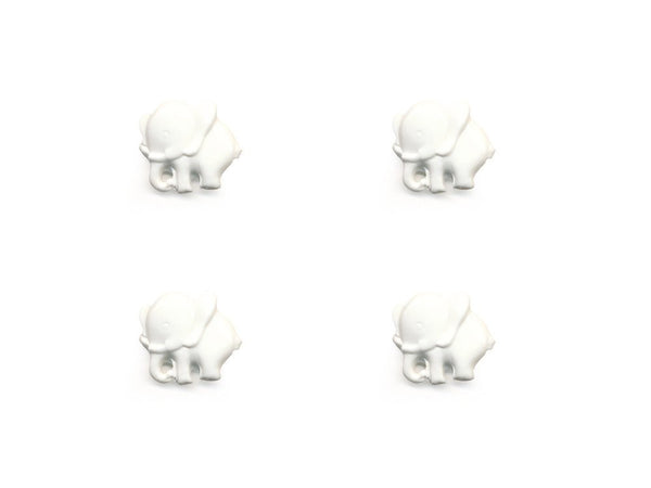 Elephant Shaped Buttons - White - 029-Deramores