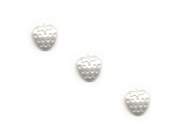 Pearlescent Strawberry Shaped Buttons - White - 075