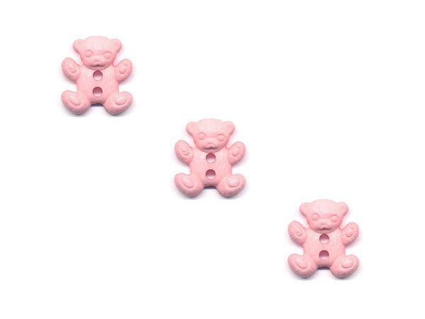 Teddy Bear Shaped Buttons - Pink - 091