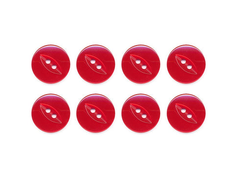 Fish-Eye Buttons - Red - 057-Deramores