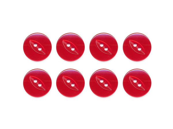 Fish-Eye Buttons - Red - 100-Deramores