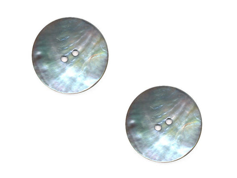 Round Shell Buttons - Silver - 1011