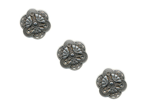 Metal Textured Design Buttons - Silver - 1012