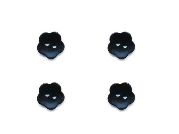 Flower Buttons - Black - 1016-Deramores