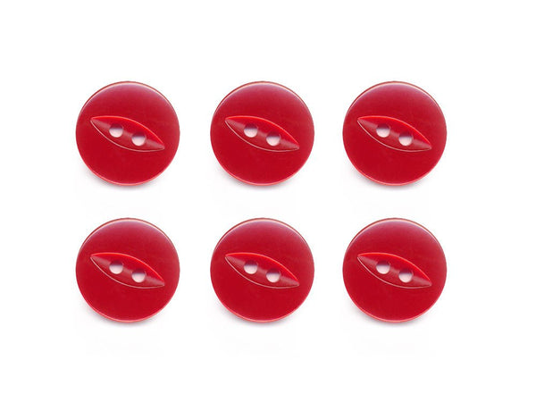 Fish-Eye Buttons - Red - 101-Deramores