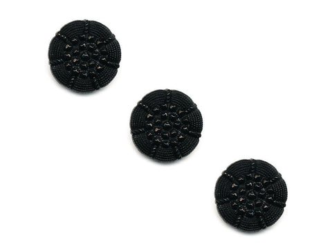 Round Textured Design Buttons - Black - 1028