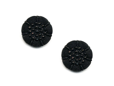 Round Textured Design Buttons - Black - 1029
