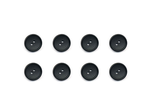 Rimmed Round Buttons - Black - 1034