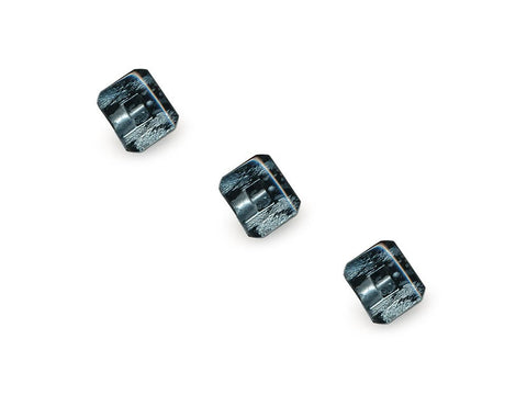 Rectangular Fashion Buttons - Black/Silver - 1038