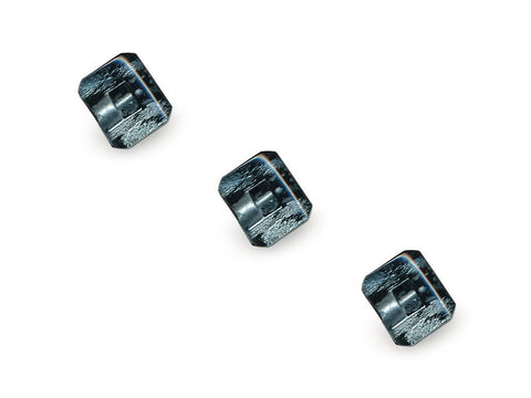 Rectangular Fashion Buttons - Black/Silver - 1039