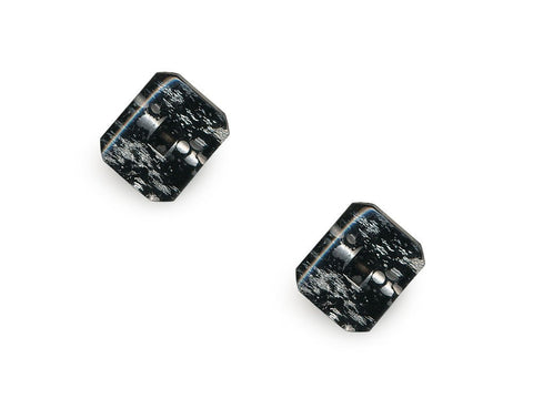 Rectangular Fashion Buttons - Black/Silver - 1040