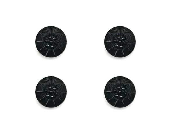 Round Textured Design Buttons - Black - 1045