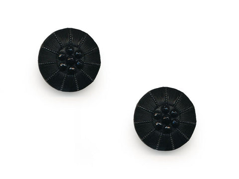 Round Textured Design Buttons - Black - 1046